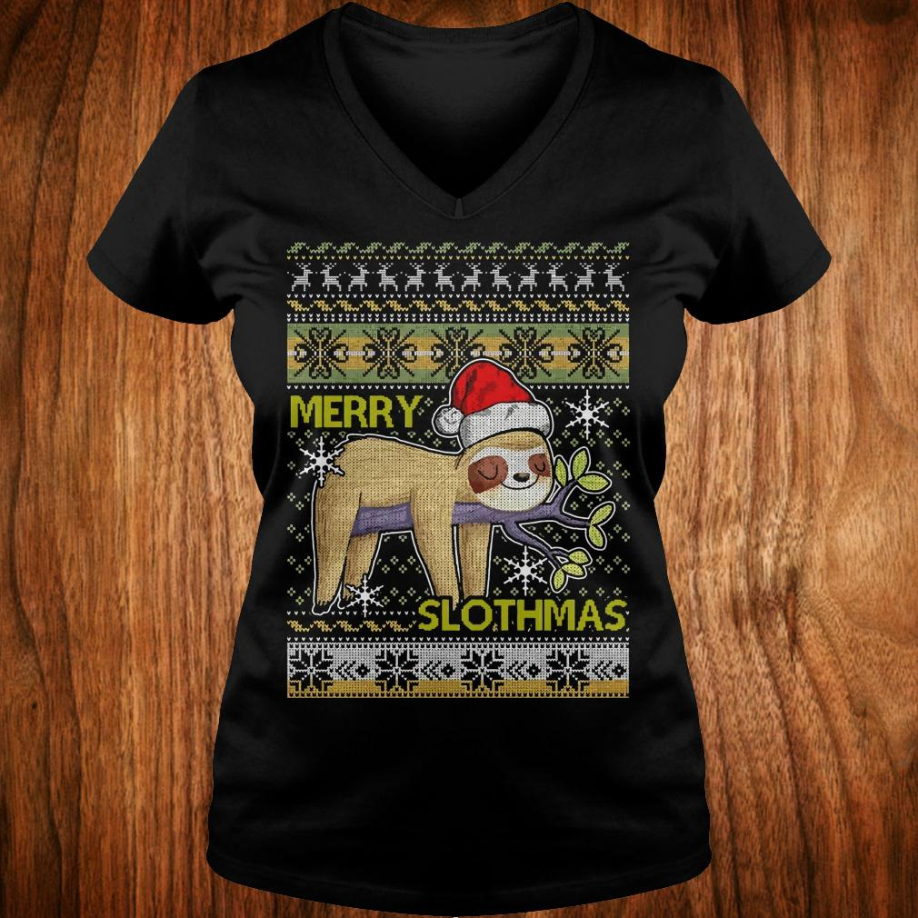 Original Original Merry Slothmas sweater shirt Ladies V-Neck