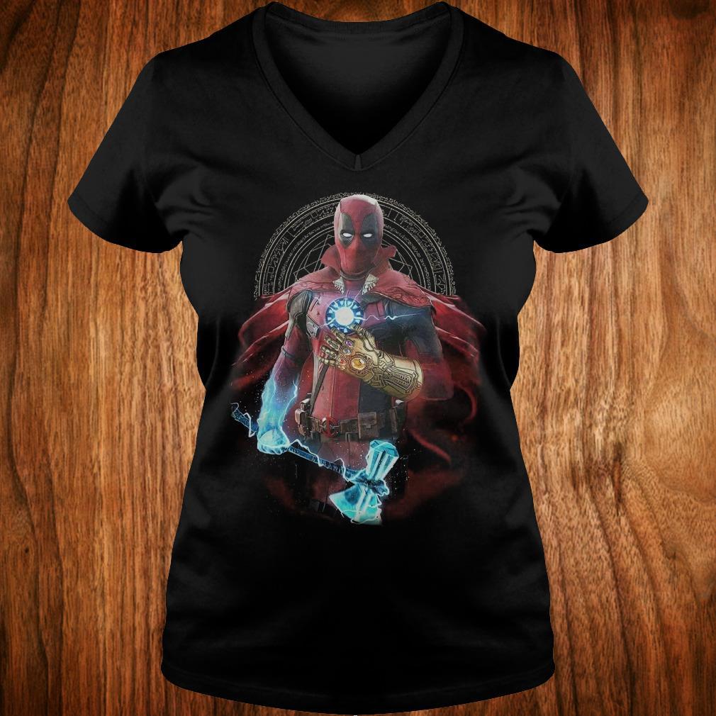 The best Avengers Infinity Deadpool Doctor Strange Iron Man Thanos Thor shirt Ladies V-Neck