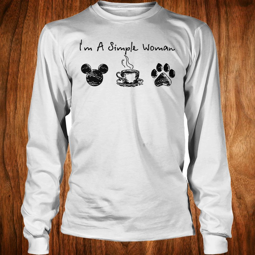 The best I'm a simple woman I like Mickey Minnie Mouse Coffee and Dog shirt