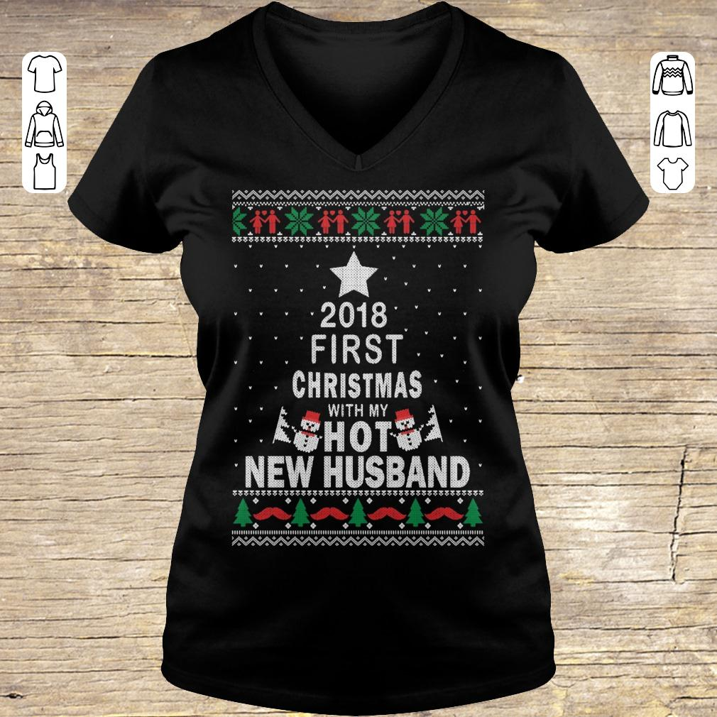 Funny 2018 first christmas with my hot new husband Ladies V-Neck