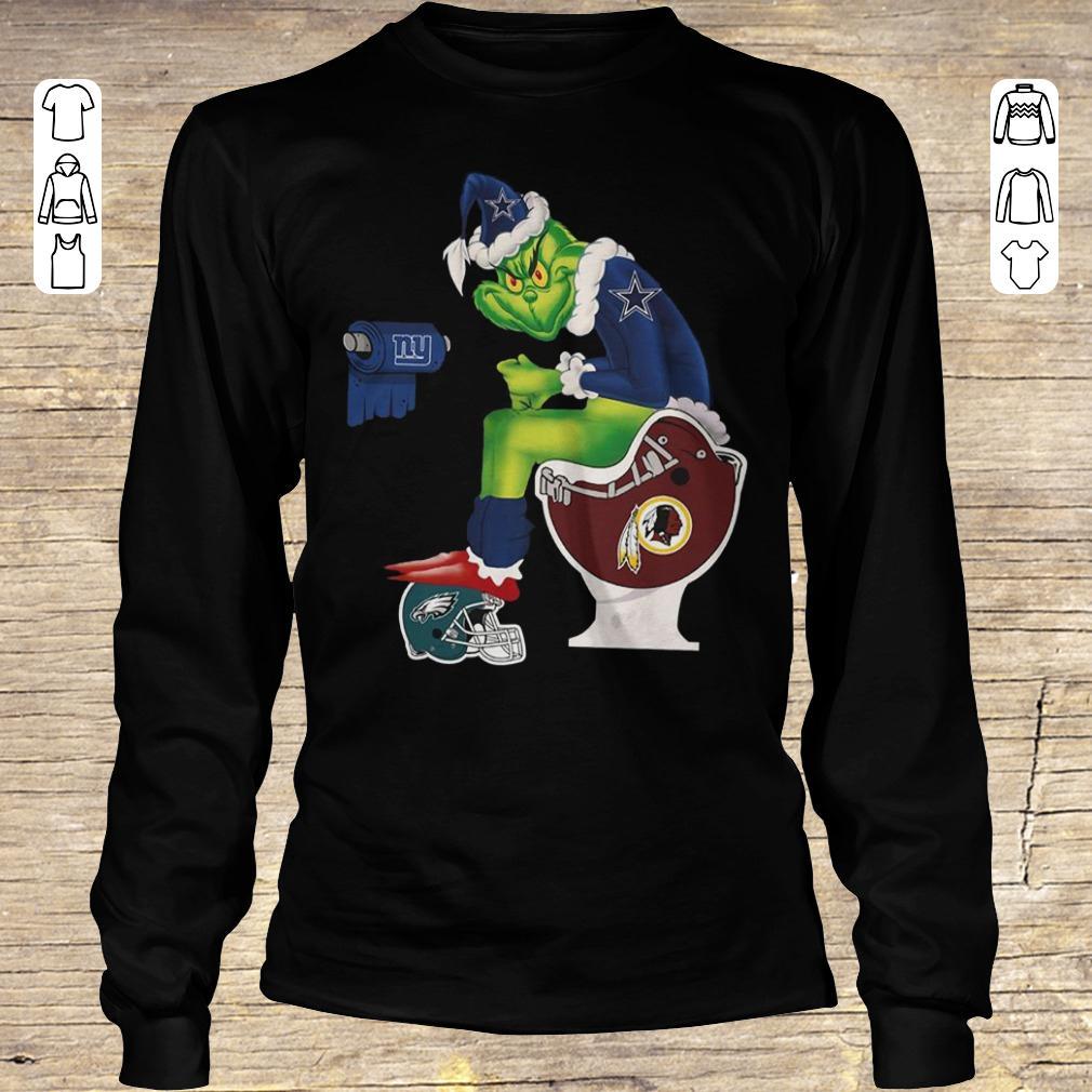 Funny Dallas Cowboys Grinch Santa Toilet shirt Longsleeve Tee Unisex