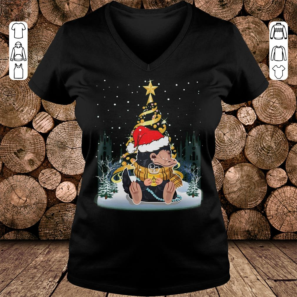 Nice Christmas tree Under Snow Niffler Santa Hat shirt sweatshirt Ladies V-Neck