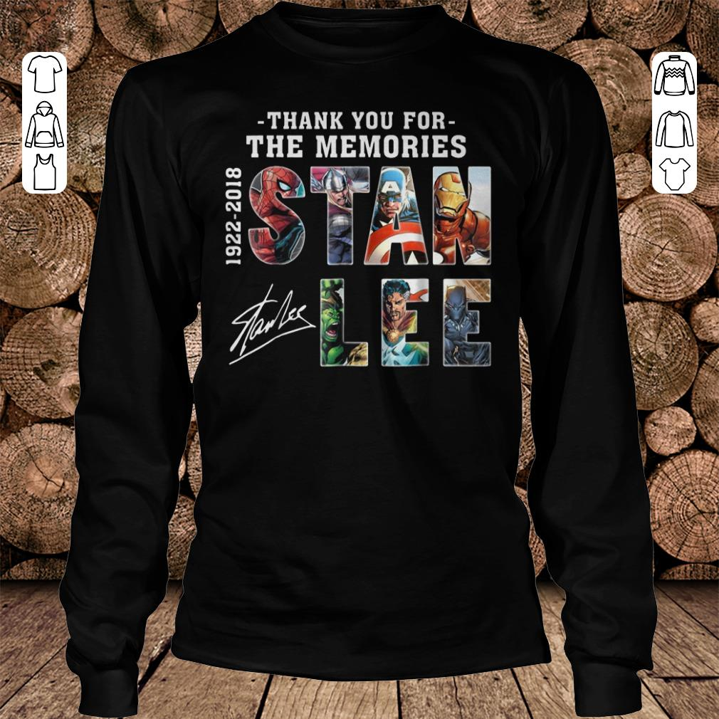 Official Text Graphic Thank you for the memories Stan Lee shirt sweatshirt Longsleeve Tee Unisex