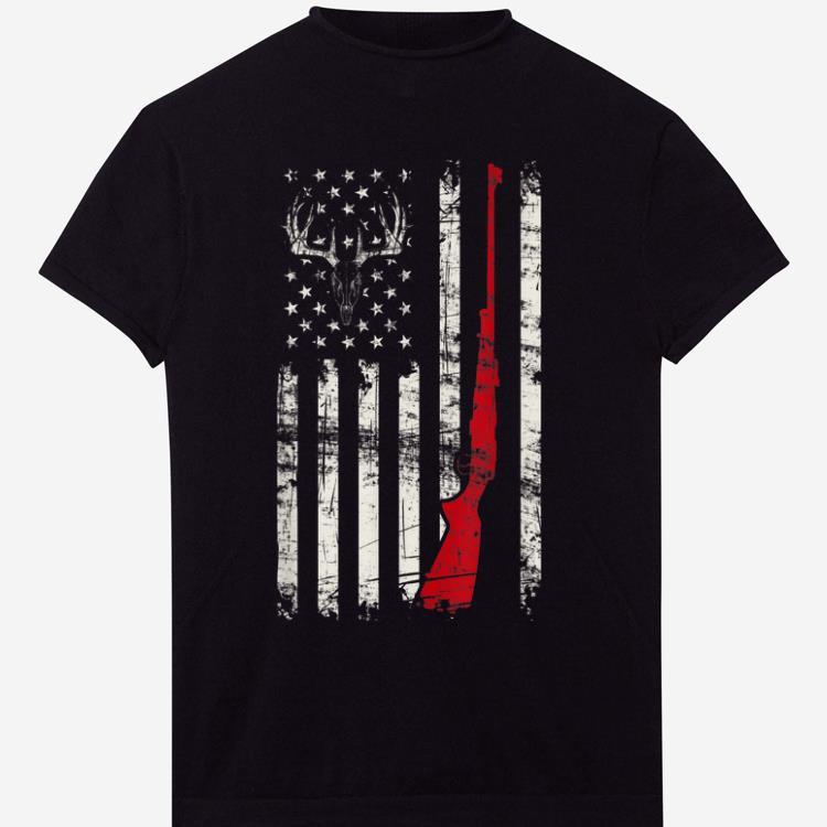 American Flag Deer Hunter Skull Rifle Gift shirt