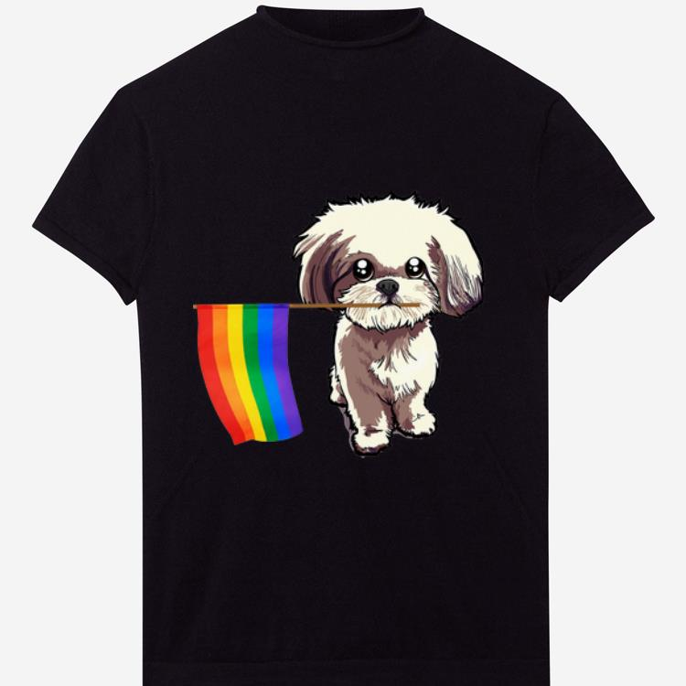 Gay Pride Flag Shih Tzu for Dogs Lovers Owners shirt