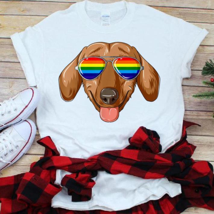 Original Dachshund Gay Pride Flag LGBT Rainbow Sunglasses Dachshund Shirt