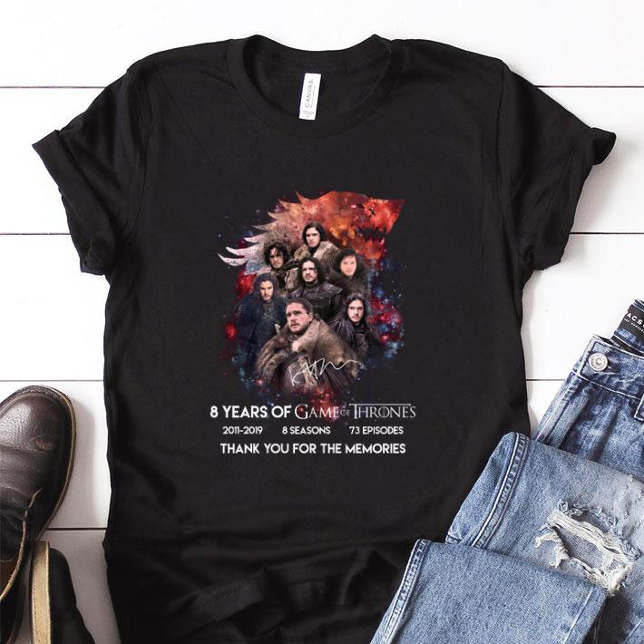 Premium Jon Snow 8 years of Game Of Thrones signature thank you for the memories shirt