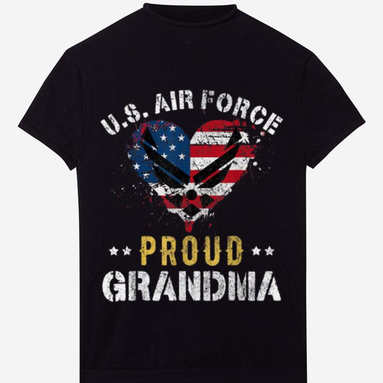 Proud Air Force Grandma American Flag Heart Veteran shirt