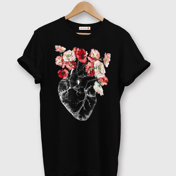 Hot Anatomical Heart And Flowers shirt