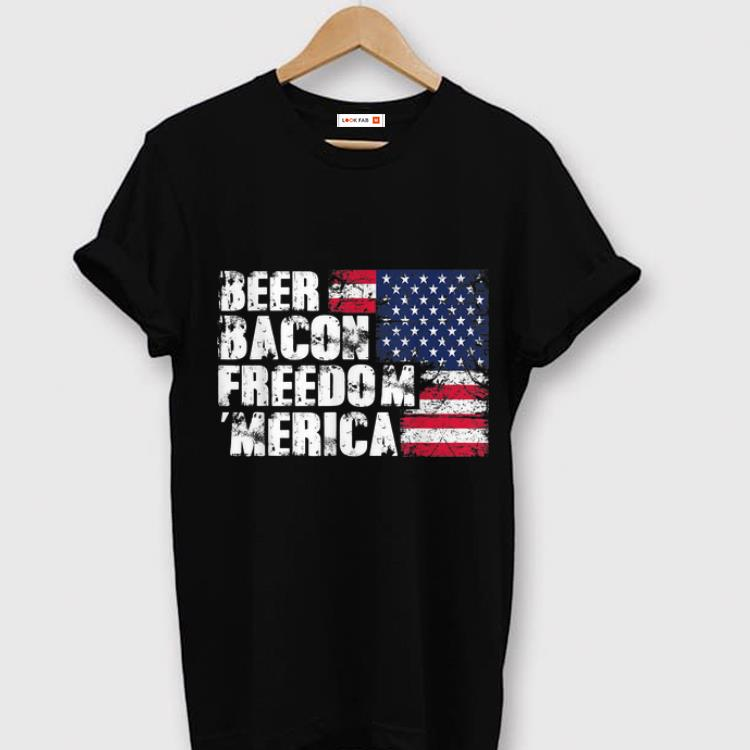 Hot Beer Bacon Freedom Merica American Flag 4th Of July Usa shirt