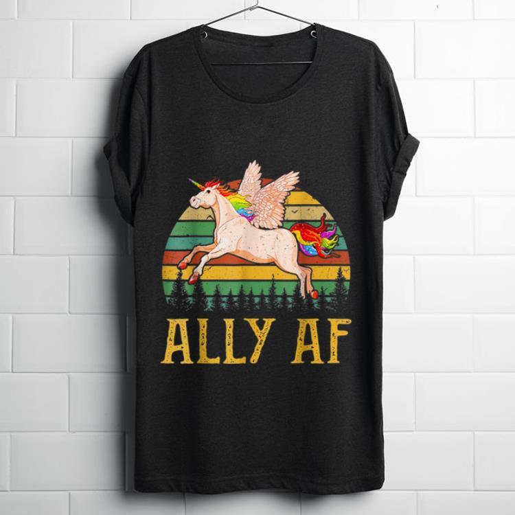 Pretty Ally AF Unicorn Gay Pride Month LGBT Rainbow Unicorn shirt