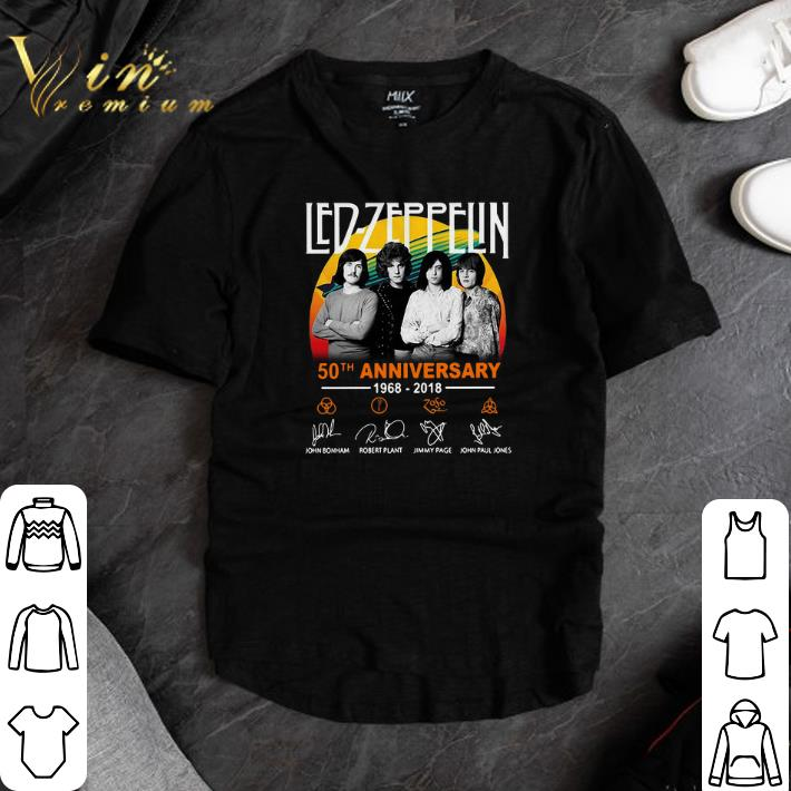Awesome Led Zeppelin 50th anniversary 1968-2018 signatures shirt