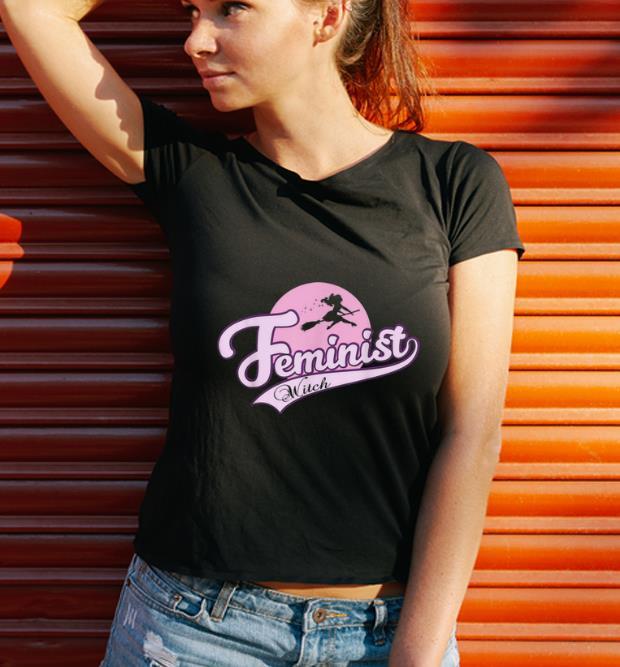 Funny Feminist Witch Cute Halloween Vintage Baseball Women shirt