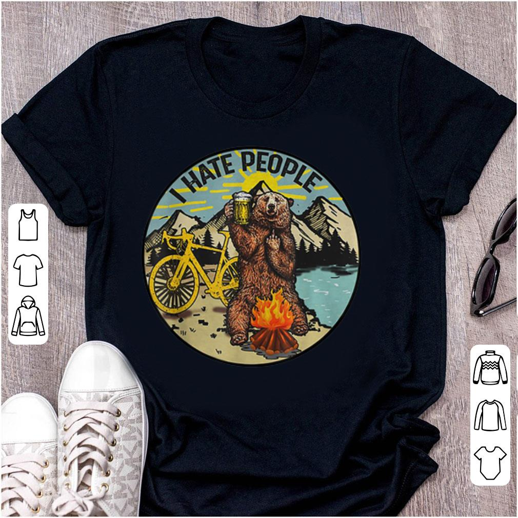 Hot I Hate People Cyling Bear Drinking Beer Camping Fire shirt