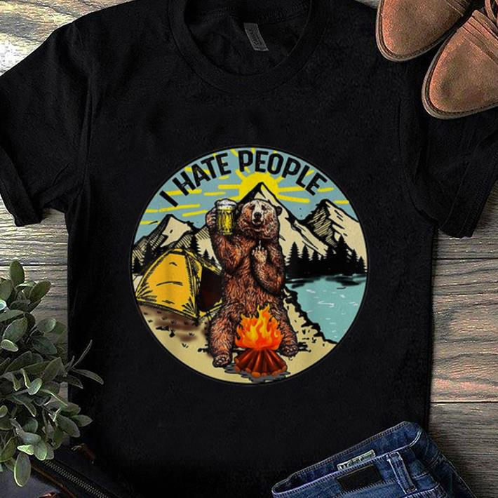 Nice Bear Camping I Hate People Drinking Beer shirt