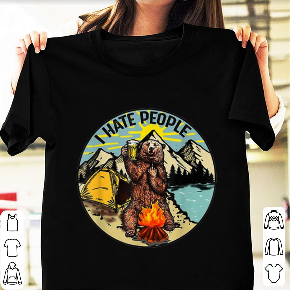 Original Bear Camping I Hate People Drinking Beer shirt