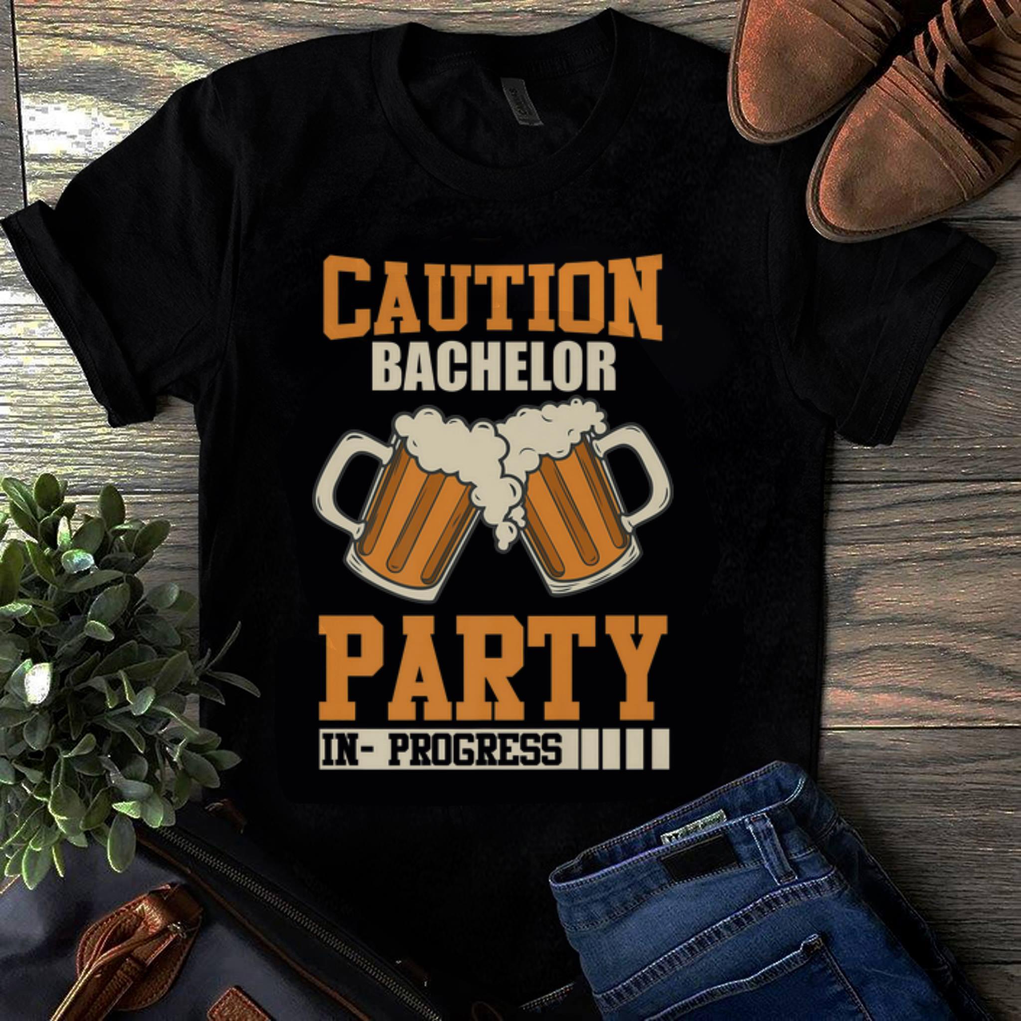 Original Caution Bachelor Party In Progress Beer shirt