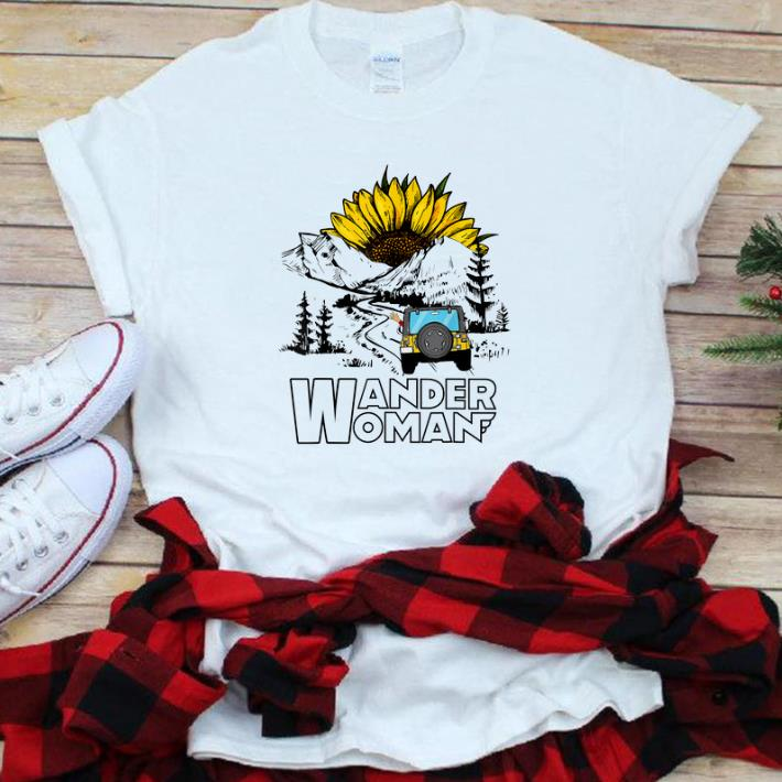 Top Wander Women Jeep Camping Mountain Sunflower shirt