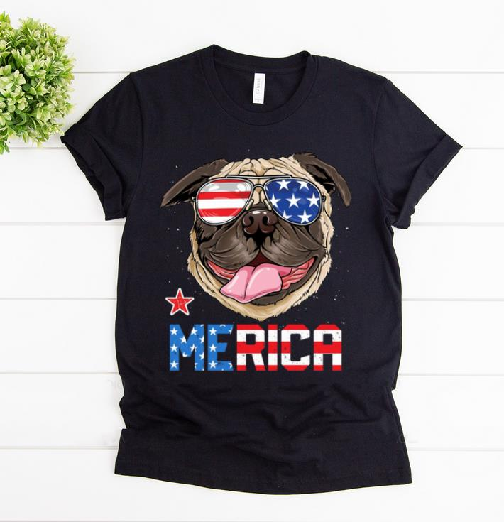 Awesome 4th July Independence Day American Flag Sunglass Pug Merica shirt