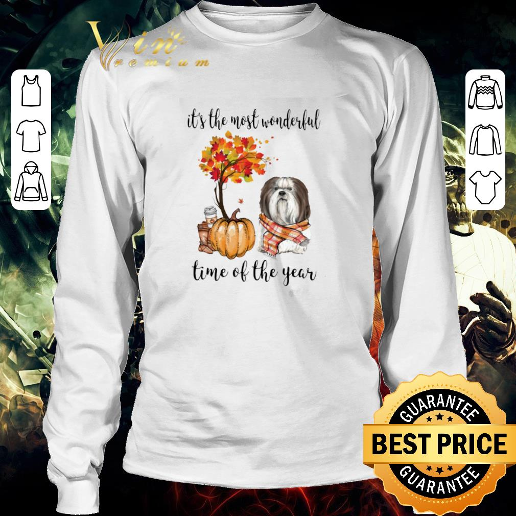 Funny Shih Tzu & Pumpkin it's the most wonderful time of the year shirt