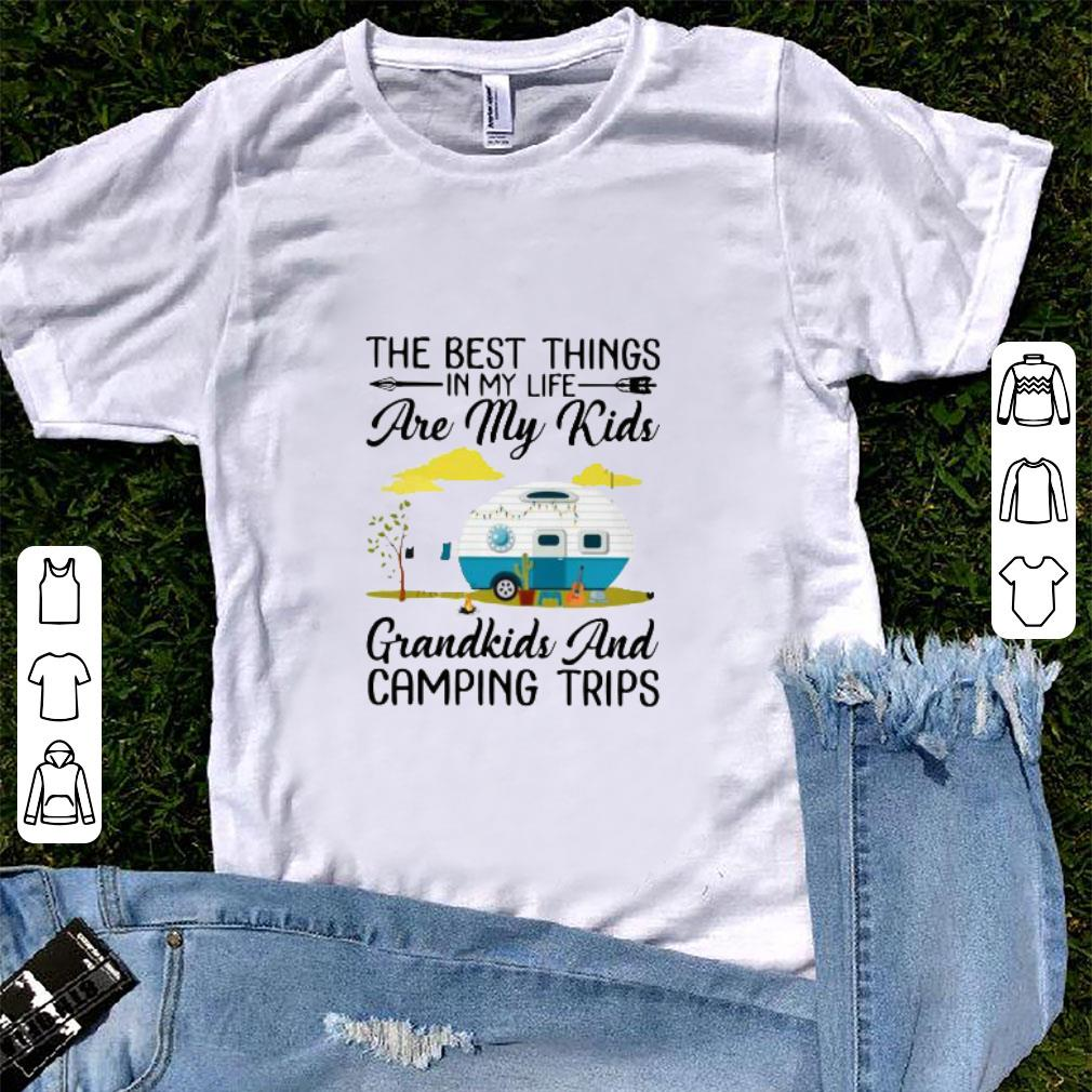Funny The best things in my life are my kids grandkids and camping tips shirt