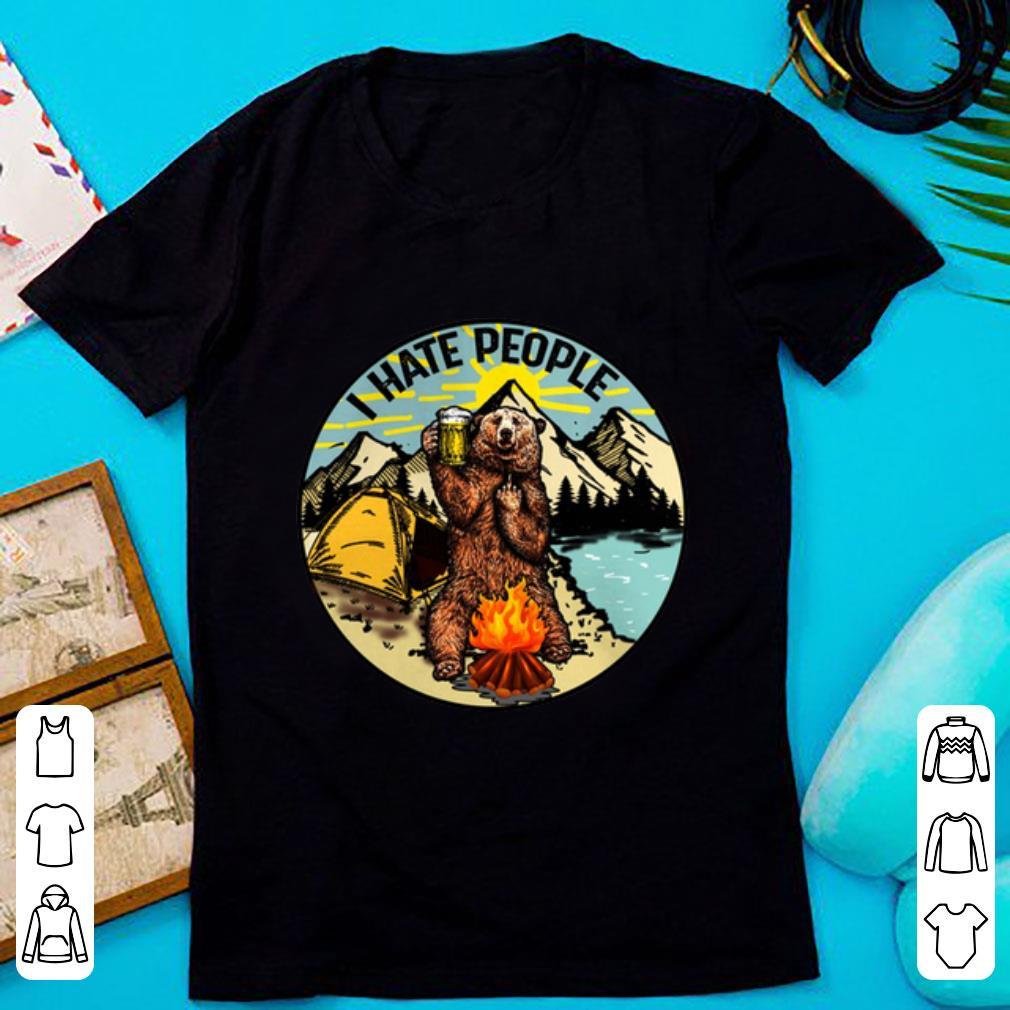 Nice I hate people camping bear shirt