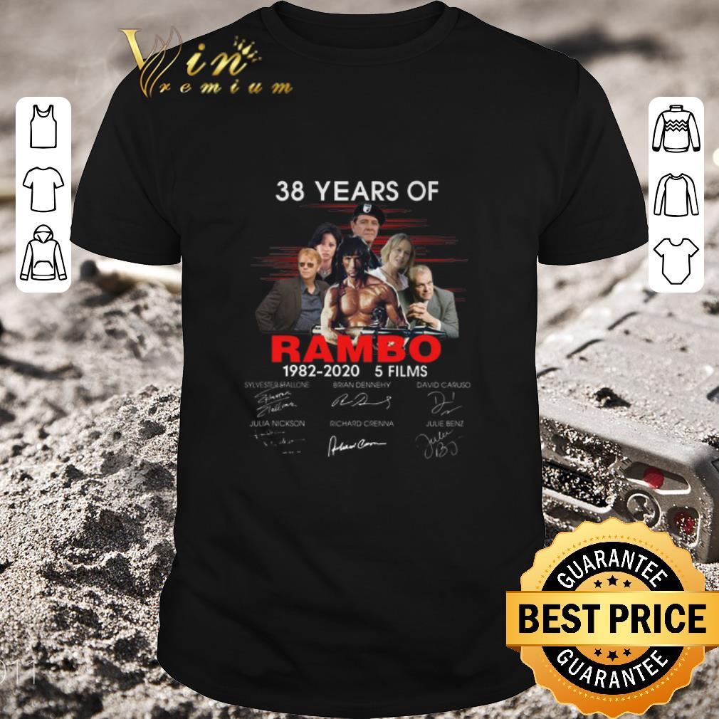 Hot 38 years of Rambo 1982-2020 5 films signatures shirt