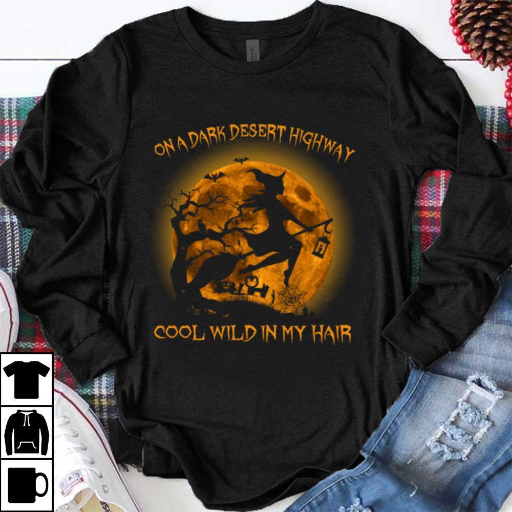 Hot On A Dark Desert Highway Cool Wind In My Hair Hallowen Witch shirt
