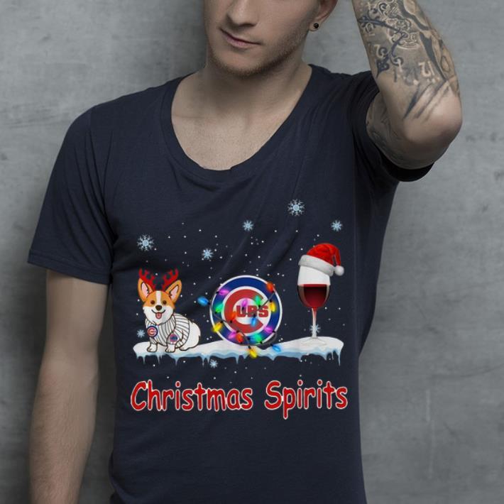 Awesome Chicago Cubs Corgi Wine Christmas Spirit shirt