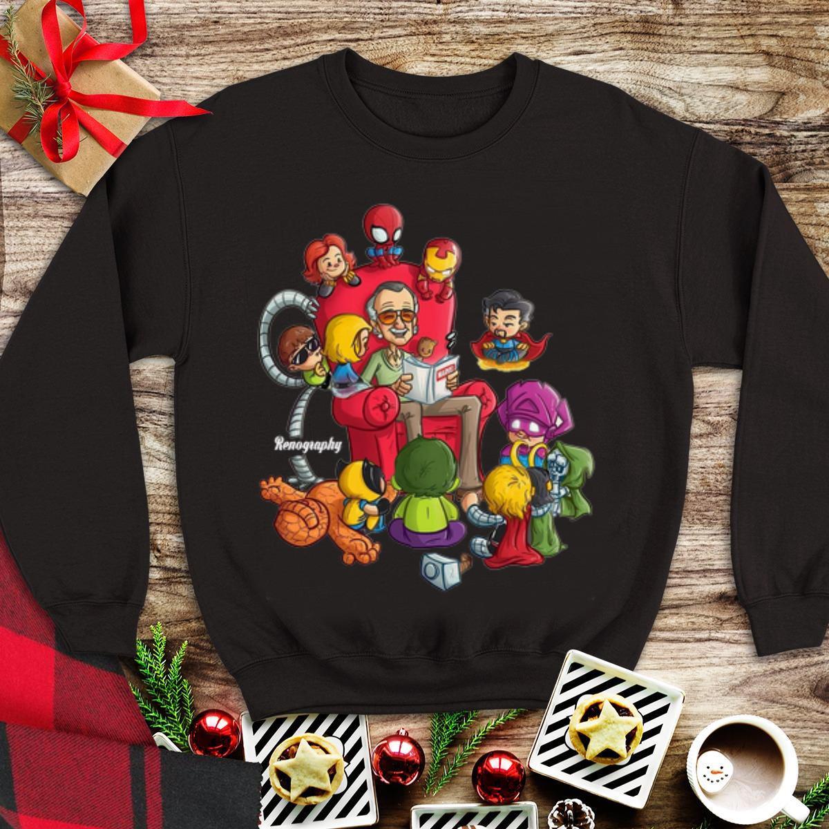 Awesome Stan Lee Marvel And Superhero Chibi Renography shirt