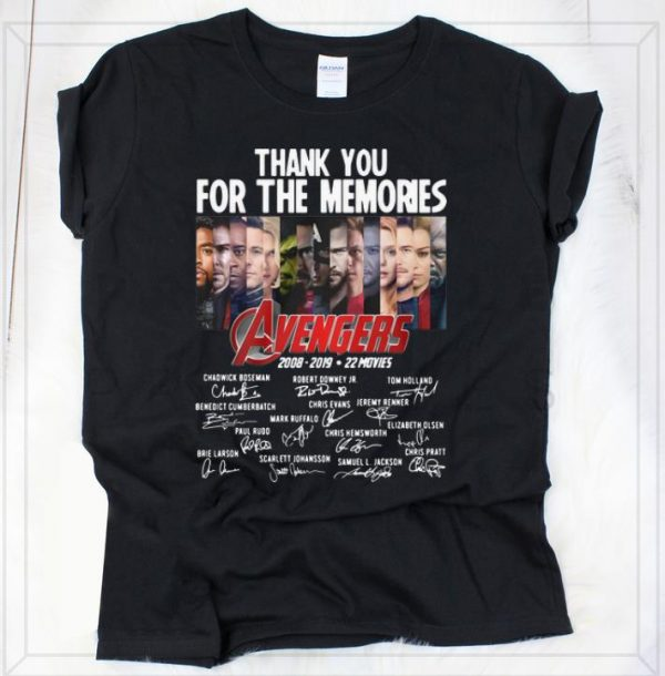 Awesome Thank You For The Memories Avengers 2008-2019 22 Movies Signatures shirt