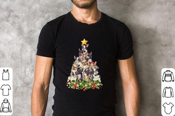 Hot French Bulldog Christmas tree shirt