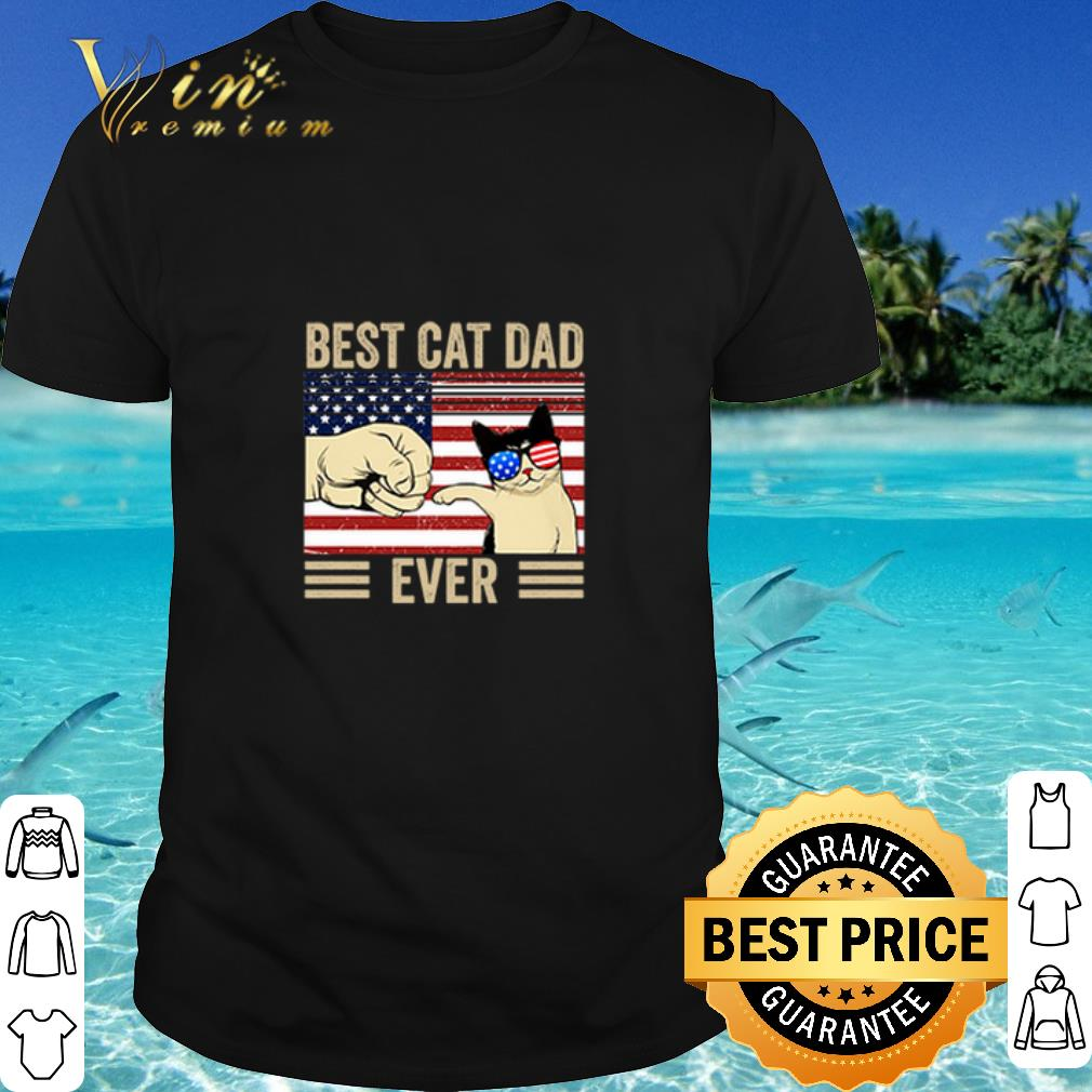 Official Best Cat Dad Ever American USA Flag Fathers Day shirt 1